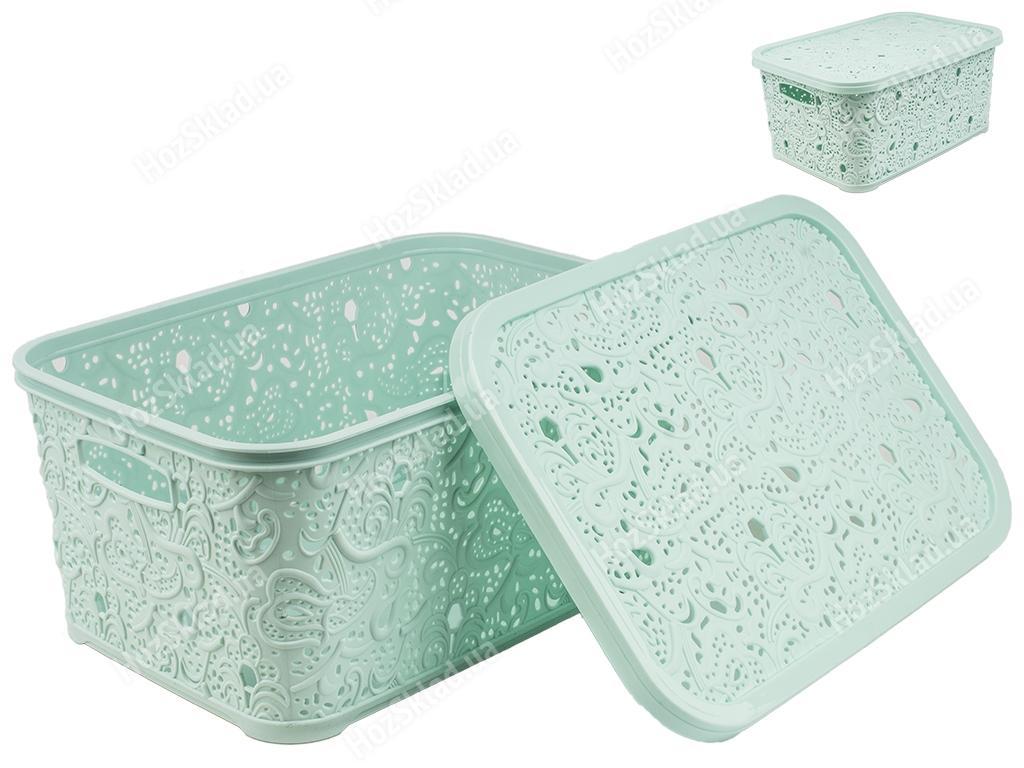 Купить Корзина с крышкой Ажур (цвет - бирюзовый) 10л Efe plastics недорого