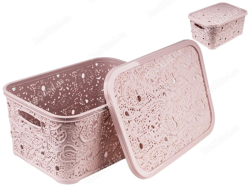 Купить Корзина с крышкой Ажур (цвет - капучино) 10л Efe plastics недорого