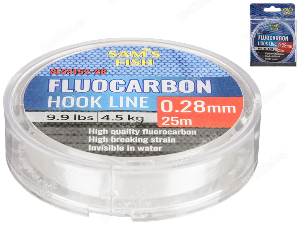 Леска Sam's Fish 100% Fluocarbon 4,5кг 25м D0,28мм